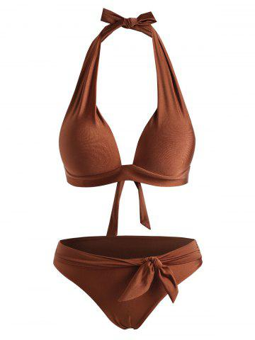 Shiny Halter Padded Belted Bikini Swimwear - DEEP COFFEE - L