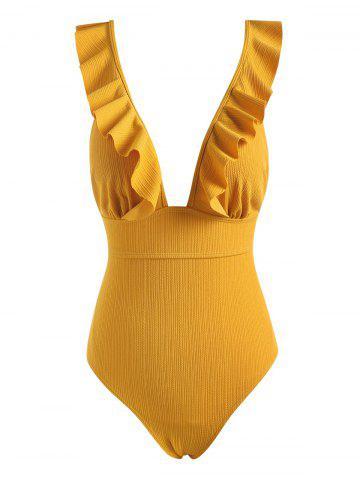 Ruffle Lace-up Textured Ribbed One-piece Swimsuit - DEEP YELLOW - XXL