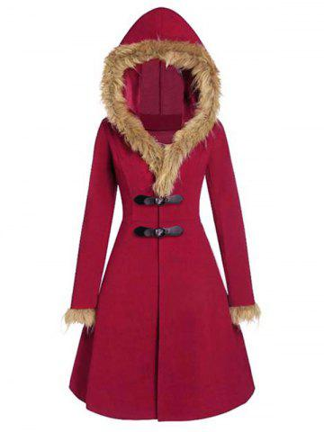 Faux Fur Insert Buckles Long Wool Coat