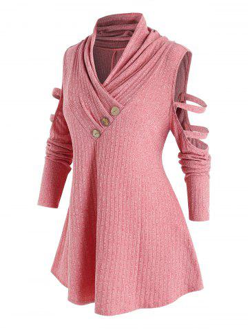 Plus Size Cut Out Sleeve Button Sweater - PINK ROSE - 5X