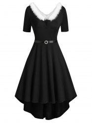 Faux Fur Trim V-wired Knit High Low Dress -