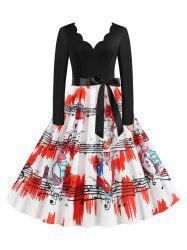 Plus Size Christmas Printed Scalloped Flare Dress -