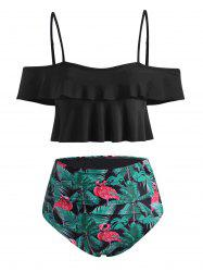 Tropical Tree Flamingo Flounce Tummy Control Tankini Swimwear -