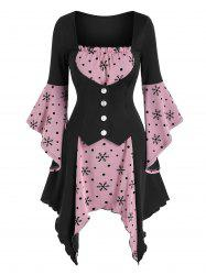 Christmas Snowflake Print Lace-up Handkerchief Twofer Dress -