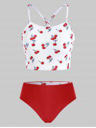 High Neck Cherry Print Crisscross Back Reversible Tankini Swimwear -