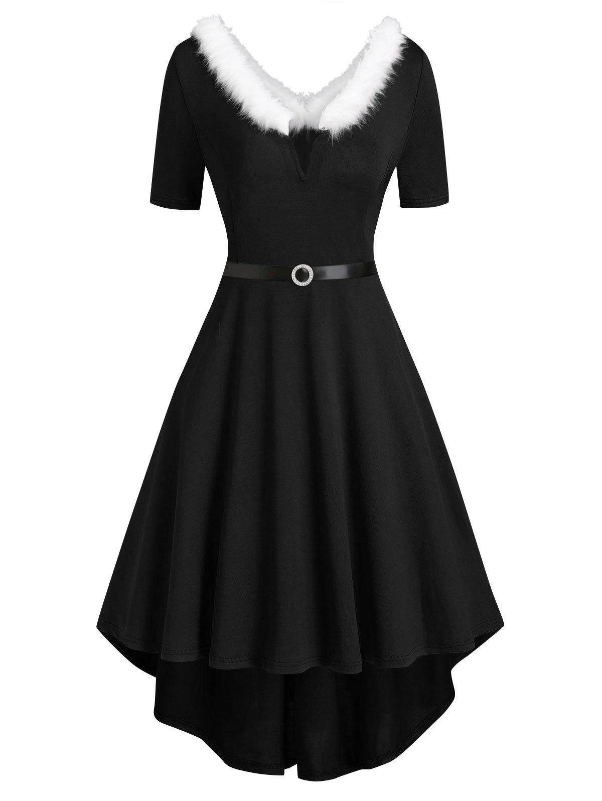 Shops Faux Fur Trim V-wired Knit High Low Dress