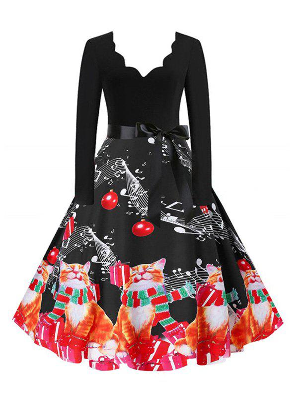 Unique Plus Size Christmas Printed Scalloped Flare Dress