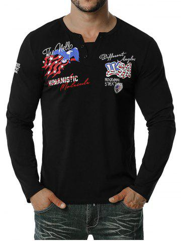 American Flag Letter Embroidered Henley T-shirt - BLACK - S