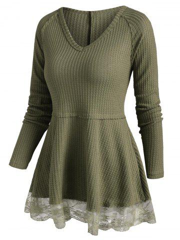 Lace Sheer Hem Raglan Sleeve Tunic Knitwear - GREEN - 2XL