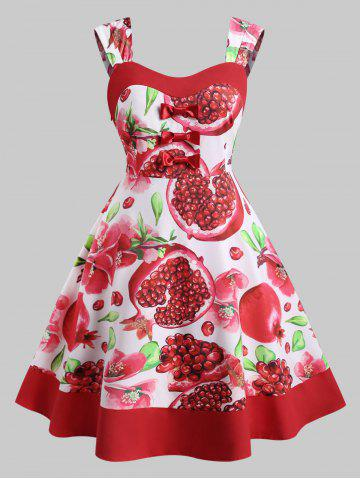 Bowknot Floral Pomegranate Print Plus Size Dress - RED - 2X