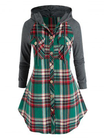 Plus Size Hooded Plaid Pocket Button Up Tunic Blouse - SEA GREEN - 3X
