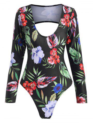 Floral Leaf Open Back Long Sleeve One-piece Swimsuit