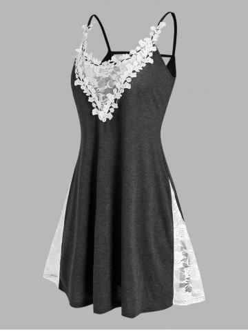 Plus Size Lace Applique Panel Backless Sleep Dress - CARBON GRAY - 2X