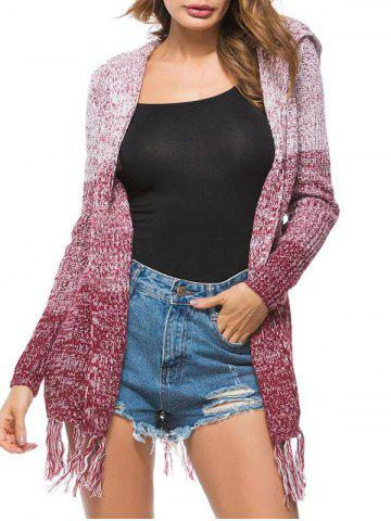 Heathered Tassels Open Front Hooded Cardigan