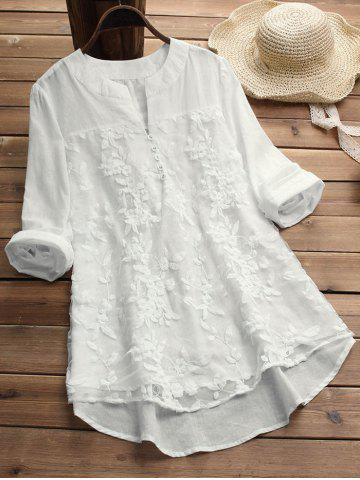 Plus Size Embroidered High Low Tunic Blouse