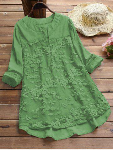 Plus Size Embroidered High Low Tunic Blouse - LIGHT GREEN - 5XL