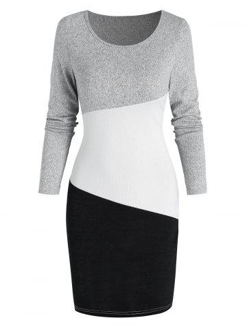 Contrast Long Sleeve Sheath Sweater Dress - MULTI-A - 3XL