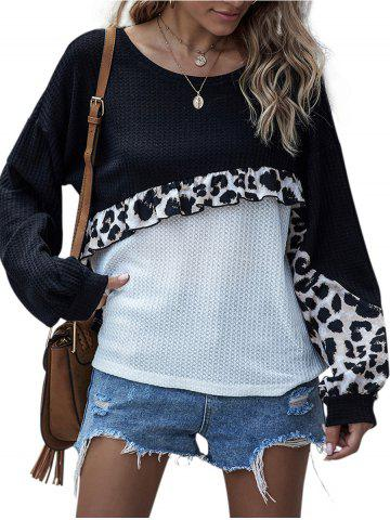 Panel de leopardo flote la ropa de punto de color bloque - BLACK - XL