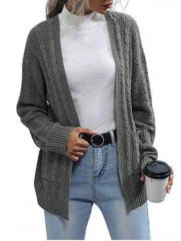 Cable Knit Front Pockets Open Cardigan - GRAY - L