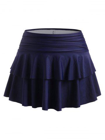 Plus Size Bikini Bottom with Ruched Tiered Flounce Skirt - DEEP BLUE - L