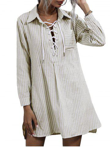 Striped Lace-up Front Pocket Shirt Dress - LIGHT COFFEE - XL