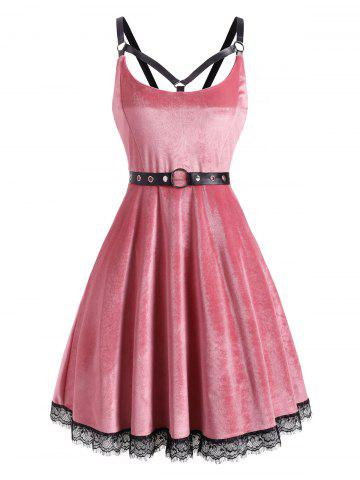 Lace Hem Velvet Grommet Caged Cami Dress - LIGHT PINK - M