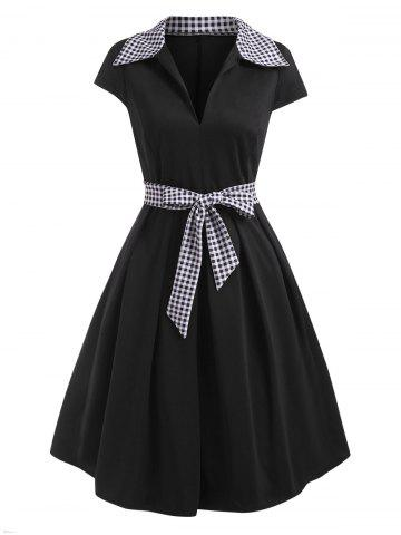 Gingham Cap Sleeve Belted A Line Retro Dress