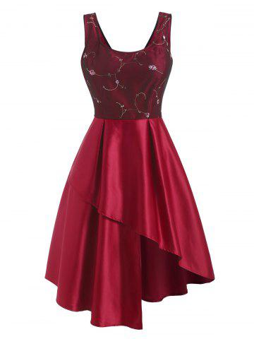 Mesh Floral Embroidered Asymmetrical Retro Dress - RED - S