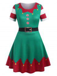 Plus Size Christmas 3D Printed Flare Dress -