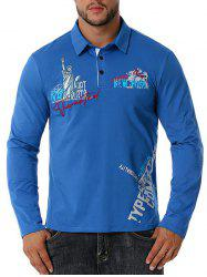 Embroidered Statue of Liberty Graphic Button Front T-shirt -