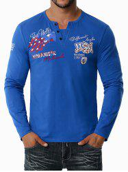 American Flag Letter Embroidered Henley T-shirt -