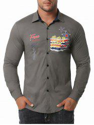Free Graphic Print Button Up Shirt -