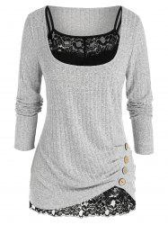 Plus Size Ruched Wide Rib Sweater with Sheer Lace Top Set -
