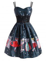 Lace-up Funny Cat Star Print A Line Dress -