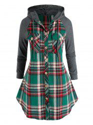 Plus Size Hooded Plaid Pocket Button Up Tunic Blouse -