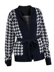 Two Tone Houndstooth Wrap Cardigan -