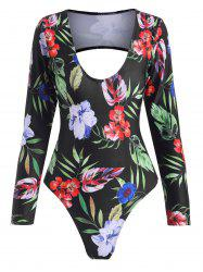 Floral Leaf Open Back Long Sleeve One-piece Swimsuit -