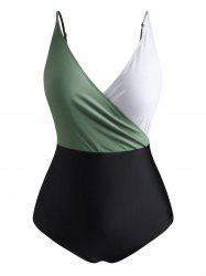 Plus Size Colorblock Surplice Front One-piece Swimsuit -