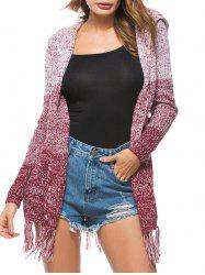 Heathered Tassels Open Front Hooded Cardigan -