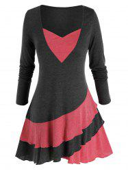 Plus Size Two Tone Skirted Long Sleeve Layered Flounce Tee -