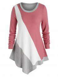 Plus Size Asymmetric Colorblock Knitted T Shirt -