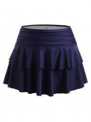 Plus Size Bikini Bottom with Ruched Tiered Flounce Skirt -