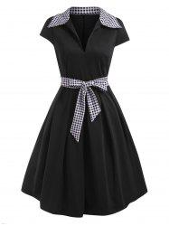 Gingham Cap Sleeve Belted A Line Retro Dress -