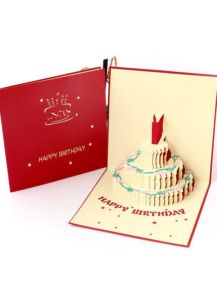 Cheap 3D Hollow Out Cake Birthday Gift Card