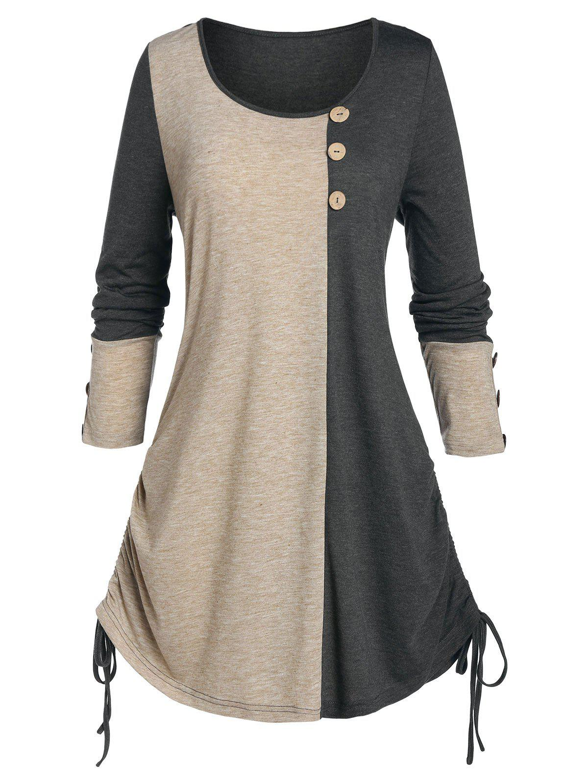 Outfits Plus Size Two Tone Cinched Tie Buttoned Tunic Tee