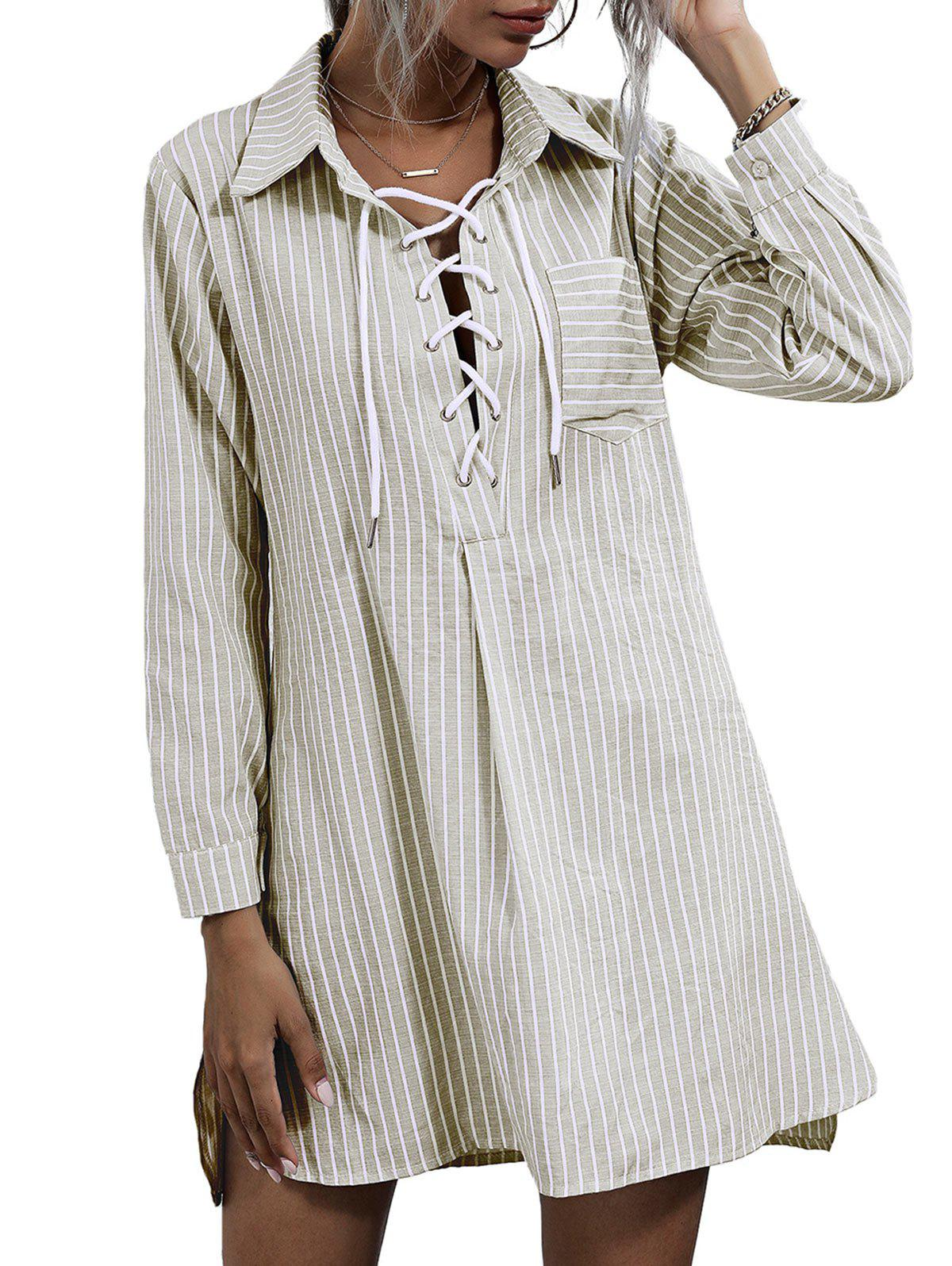Trendy Striped Lace-up Front Pocket Shirt Dress