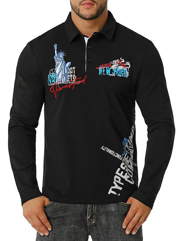 New Embroidered Statue of Liberty Graphic Button Front T-shirt