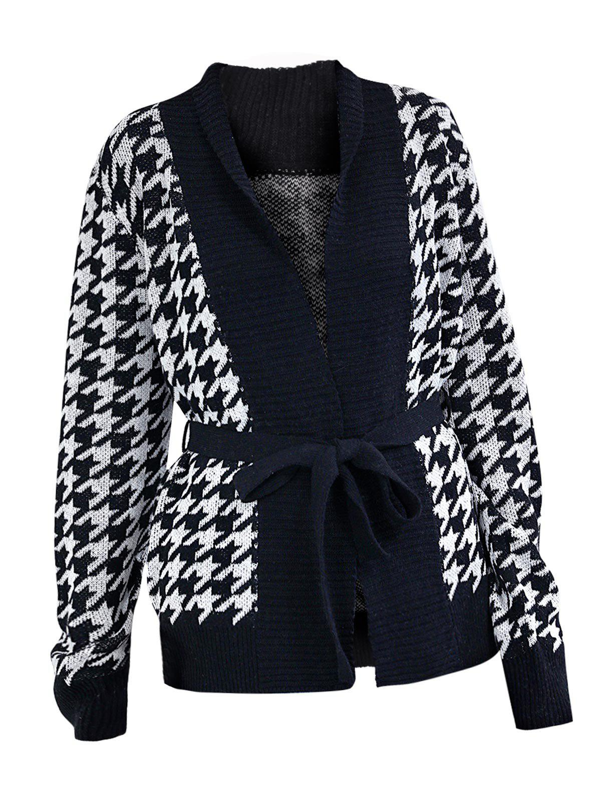 Best Two Tone Houndstooth Wrap Cardigan