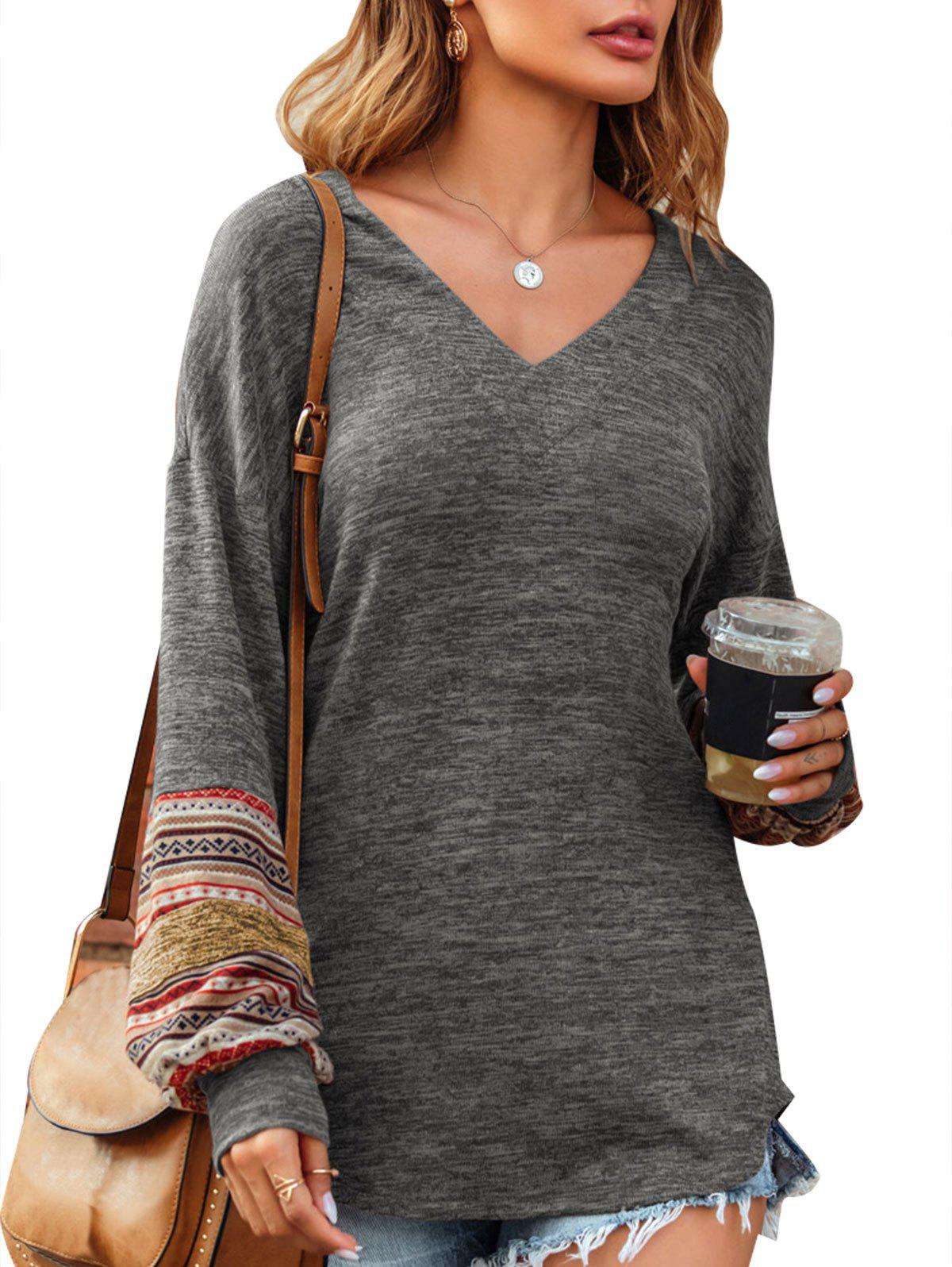 Discount V Neck Ethnic Heathered Knitwear