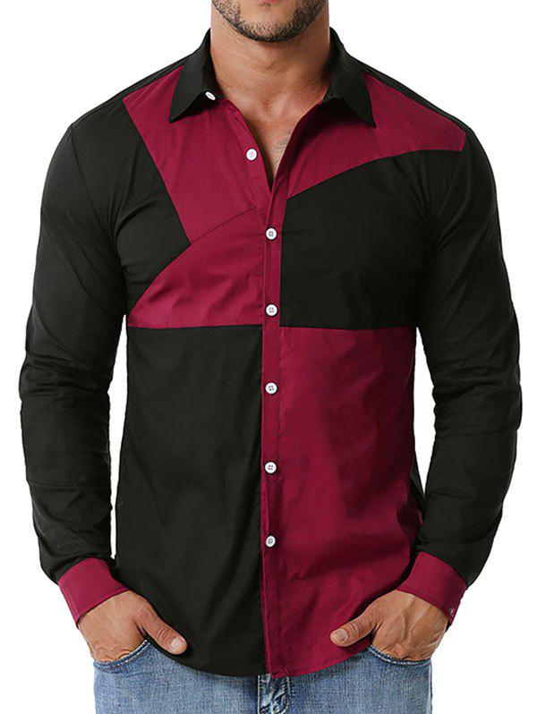 Best Button Up Contrast Stitching Detail Shirt